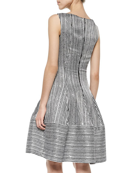 Golo Sequined Striped Fit-And-Flare Dress, Black/White