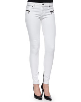 Jagger Zip-Trim Skinny Jeans, White