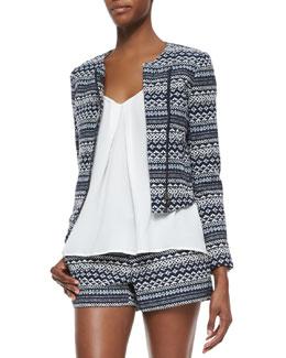 Darnel Striped Woven Tweed Jacket