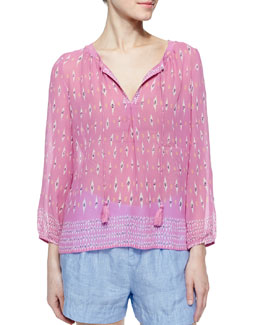 Auberon Long-Sleeve Ikat-Print Sheer Blouse, Verbena