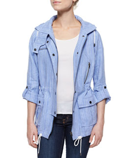 Barker Striped Hooded Drawstring Jacket