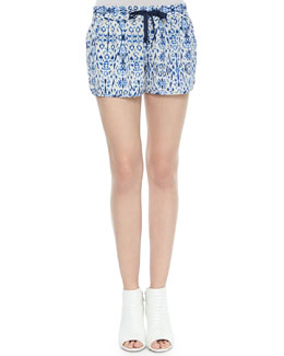 Layana Drawstring Printed Silk Shorts