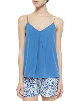 Nahlah Single-Pleat Silk Top