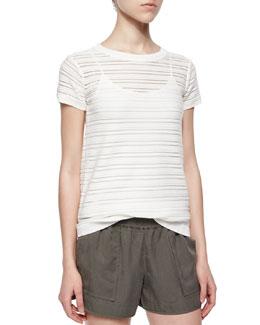 Ewan Short-Sleeve Illusion-Stripe Top