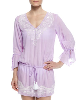 Femme Embroidered-Trim Drawstring Tunic