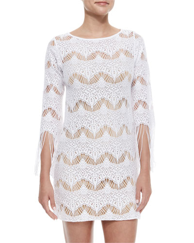 Hawaiian Fringe-Trim Sheer Coverup