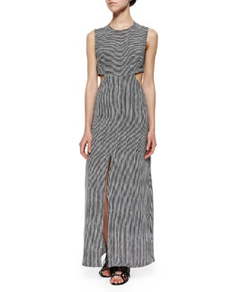 Loretta Mixed-Stripe Maxi Cutout Dress