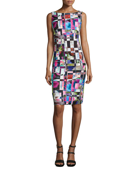 Milly Cubist-Print Midi Sheath Dress, Multicolor