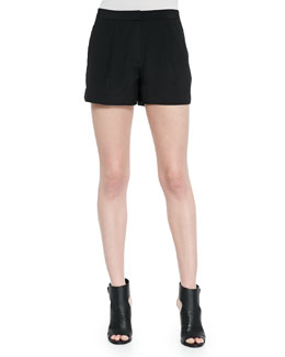 Pleated Silk Shorts