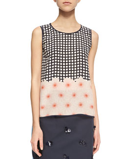 Lee Grid/Floral-Print Silk Top