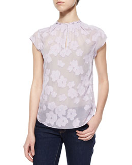 Floral-Embroidered Sheer Blouse
