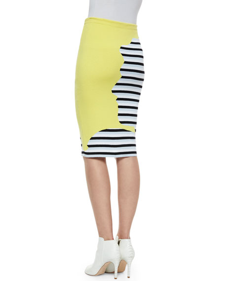 Striped/Solid Knit Combo Skirt