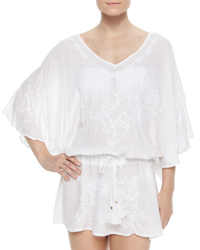 Embroidered Sheer Drawstring Tunic Coverup