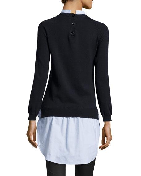 Knit Sweater/Oxford Shirtdress, Dark Navy