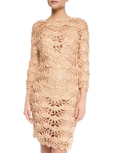 See-Through Metallic Crochet Coverup Dress