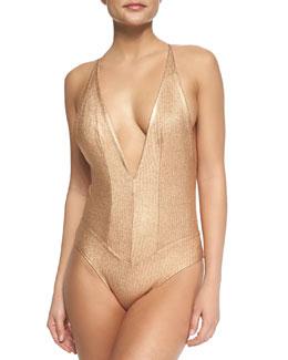 Metallic V-Neck Stringy One-Piece Swimsuit