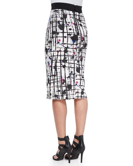 Splatter-Print Midi Pencil Skirt