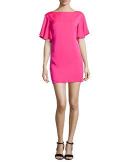 Stretch Silk Crepe Flutter-Sleeve Dress