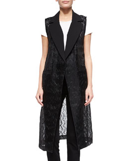 Raffia Organza Sleeveless Sheer Overcoat, Black