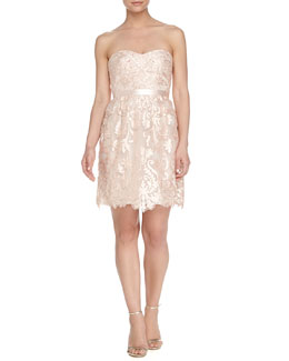 Strapless Belted Floral-Lace Cocktail Dress, Blush