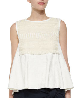 Macrame Ribbon-Tie Top, Cremu