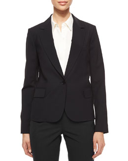 Gabe Single-Button Crepe Blazer