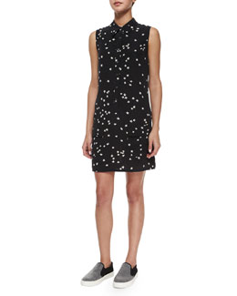 Lucida Sleeveless Star-Print Silk Shirtdress, Black