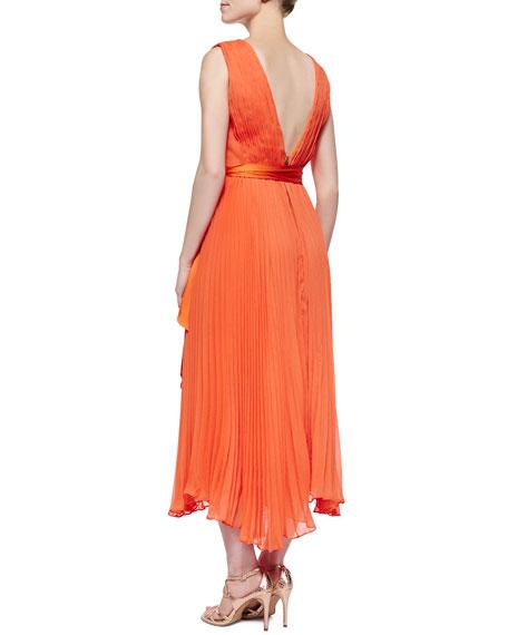 Kip Pleated Tie-Waist Midi Dress