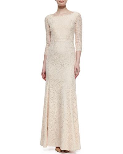 Zarita Lace 3/4-Sleeve Gown