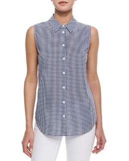 Gingham Sleeveless Blouse, Peacoat/Bright White