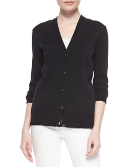 Madison Stretch-Knit V-Neck Cardigan