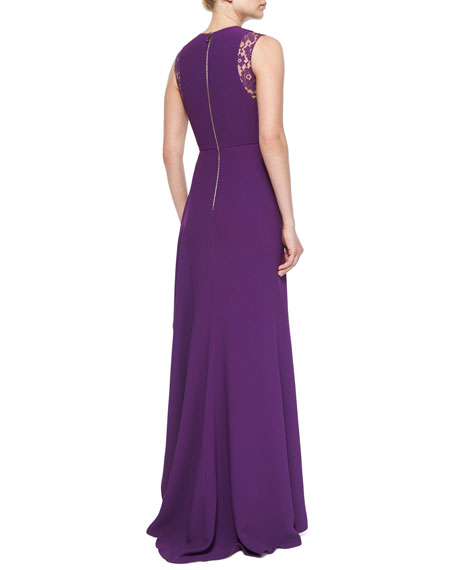 Lace-Inset Ruffled Gown