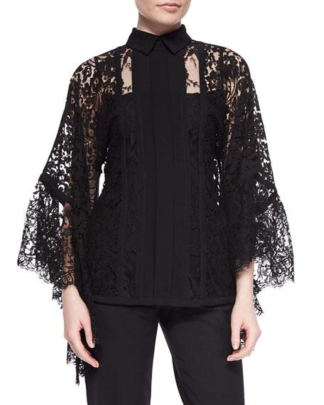 Elie Saab Lace Pagoda-Sleeve Blouse, Black