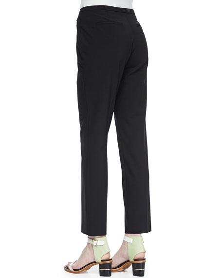 Jillian Slim Wool Pants, Black