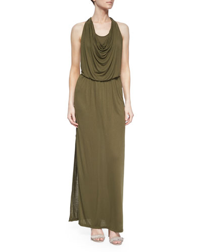 Draped Halter Maxi Dress