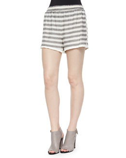 Striped Slub Pull-On Shorts