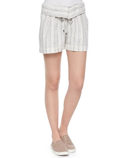 Fold-Over Striped Drawstring Shorts