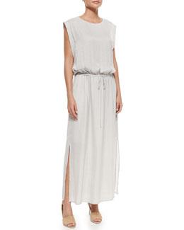 Drawstring-Waist Shiny Maxi Dress