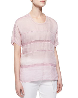 Lace-Stripe Voile Top