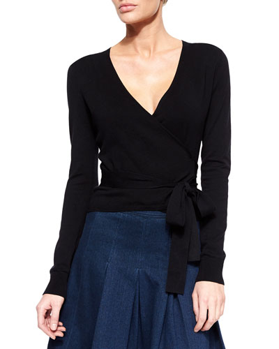 Ballerina Long-Sleeve Wrap Cardigan, Black
