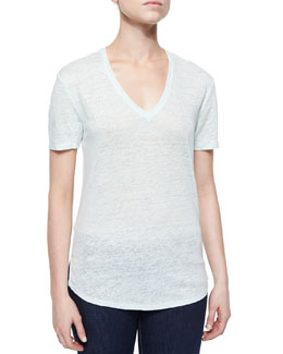 Sheer Slub V-Neck Tee