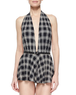 Sedona Plaid Skirted One-Piece Swimsuit