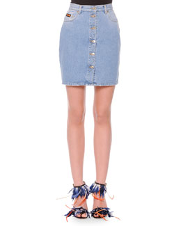 Button-Front Denim Miniskirt