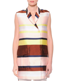 Striped Shantung Suit Vest