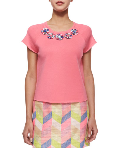 Candy Jeweled Floral Top