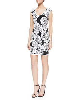 Tropical Knit Cap-Sleeve Body-Conscious Dress, Black/White