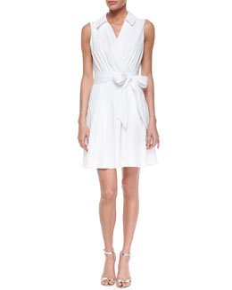 Sleeveless Cotton-Blend Wrap Dress