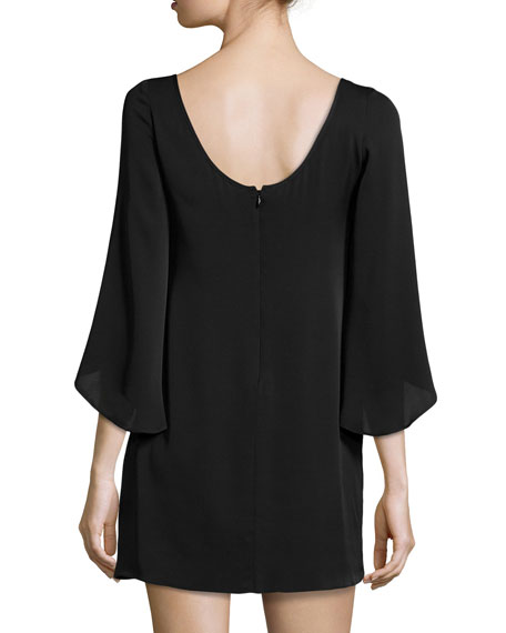 Butterfly-Sleeve Stretch-Silk Dress, Black