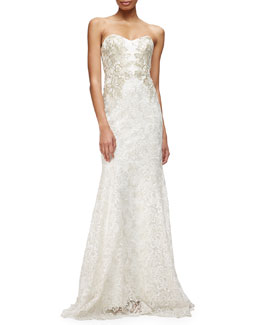 Strapless Sweetheart Lace Mermaid Gown