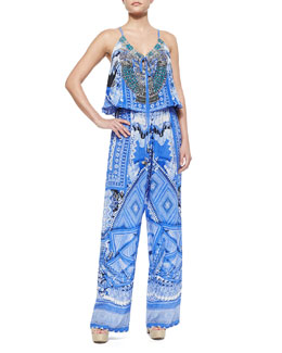 A World Between Printed Drawstring Jumpsuit